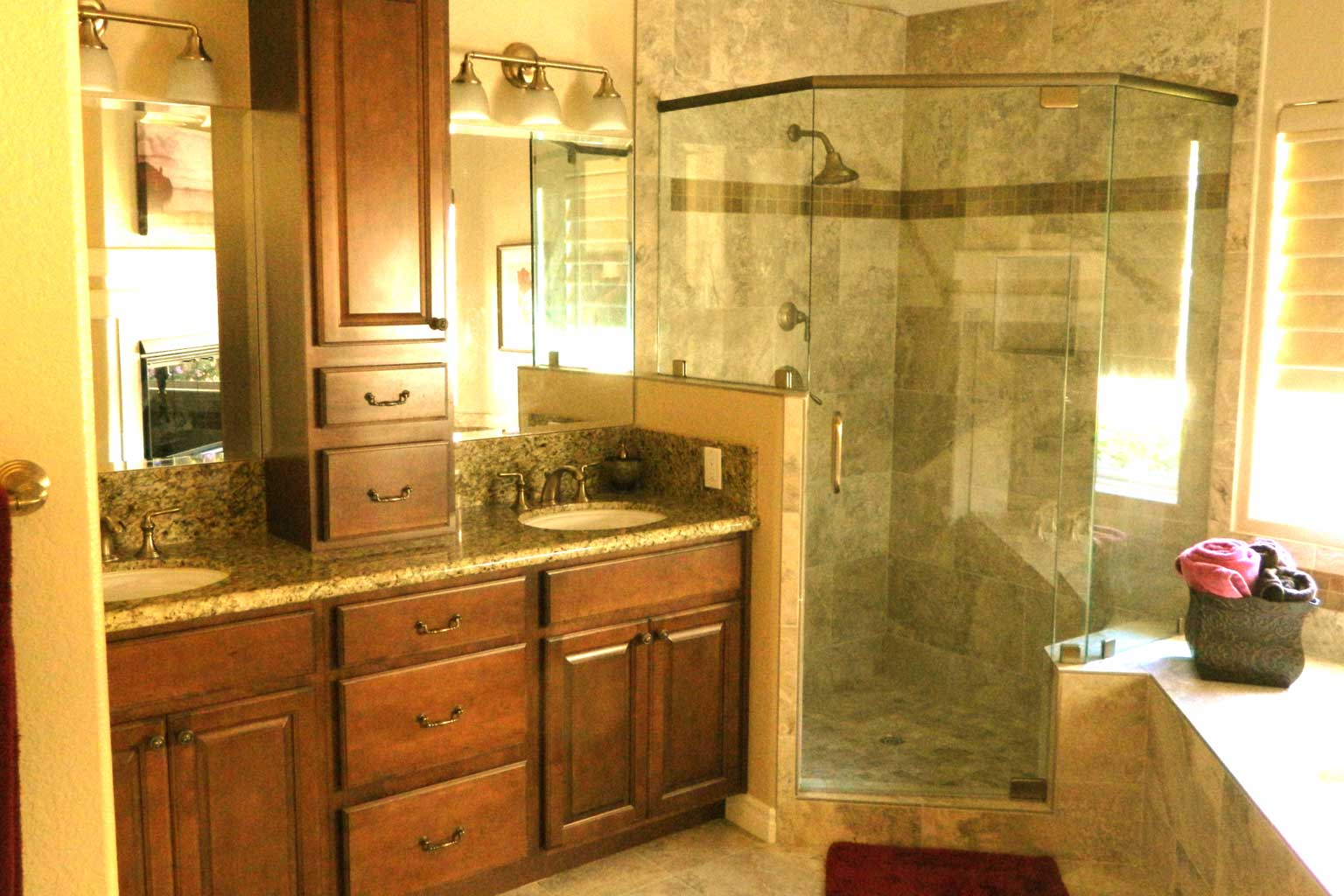 Cherry Cabinets Integrated Tub Mosaic Tile Bathroom Remodel