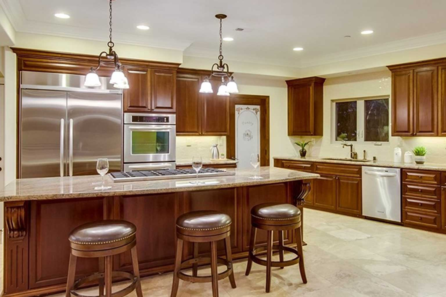 Rancho Santa Fe Cherry Custom Cabinets Kitchen Remodel