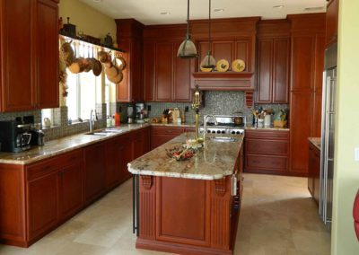 Custom Carved Hood Cherry Cabinets Kitchen Remodel